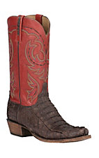 Lucchese 1883 Men's Sienna Hornback Caiman Tail with Brick Red Top 7-Toe Narrow Punchy Toe Exotic Western Boots
