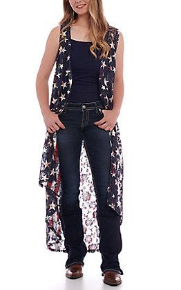 Crazy Train Women's Liberty Flag Lace Vest Duster