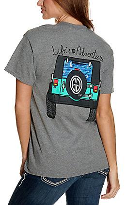 Girlie Girl Originals Women's Heather Grey Life's An Adventure Jeep Graphic Short Sleeve T-Shirt