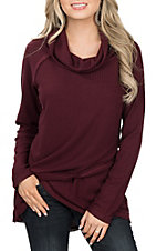 Anne French Women's Merlot Cowl Neck Top