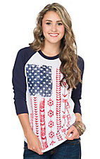 Crazy Train Women's Live Free American Flag Print 3/4 Raglan Sleeve Tee