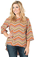 Rock 47 by Wrangler Women's Orange Multicolor Aztec Print 3/4 Sleeve Chiffon Fashion Top