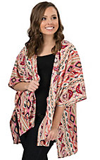 Rock 47 by Wrangler Women's Pink, Cream and Black Aztec Print with Lace Back 3/4 Sleeve Kimono