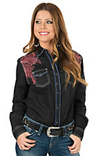 Rock 47 by Wrangler Women's Black with Coral Floral Embroidery Long Sleeve Western Shirt