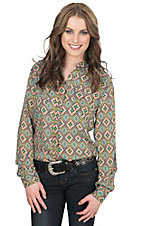 Rock 47 by Women's Lime Multicolor Aztec Print Long Sleeve Western Shirt