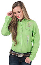 Rock 47 by Wrangler Women's Lime with Colorful Tribal Embroidery Long Sleeve Western Shirt