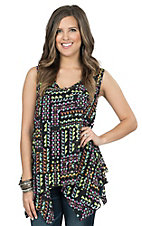 Rock 47 by Wrangler Women's Black with Multicolor Geo Print Chiffon Fashion Tank Top