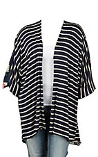 Navy and White Striped with Floral back Long Sleeve Kimono - Plus