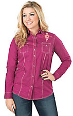 Rock 47 by Wrangler Women's Pink Crackle with Aztec Embroidery Long Sleeve Western Shirt