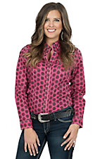Rock 47 by Wrangler Women's Pink Floral Print Long Sleeve Western Shirt