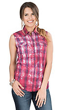 Rock 47 by Wrangler Women's Pink and Purple Plaid Sleeveless Western Shirt