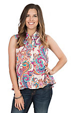 Rock 47 by Wrangler Women's Pink Paisley Print Sleeveless Fashion Top