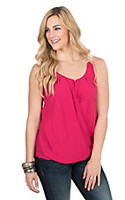 Rock 47 by Wrangler Women's Pink with Crochet Back and Keyhole Front Sleeveless Fashion Top