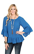 Rock 47 by Wrangler Women's Blue with Ruffled 3/4 Sleeve Fashion Top