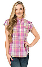 Rock 47 by Wrangler Women's Purple & Pink Plaid Short Sleeve Western Shirt