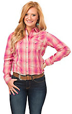 Rock 47 by Wrangler Women's Coral & Pink Plaid Long Sleeve Western Shirt