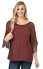 Rock 47 by Wrangler Women's Brown & Hot Pink Aztec Print with Fringe Raglan Sleeve Fashion Top