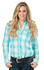 Rock 47 by Wrangler Women's Turquoise & White Plaid Long Sleeve Western Shirt