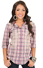 Rock 47 by Wrangler Women's Cream & Pink Plaid Long Sleeve Western Shirt