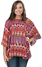 Rock 47 by Wrangler Women's Pink Multicolor Abstract Ruffle Sleeve Chiffon Top