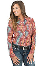 Rock 47 by Wrangler Women's Multi Coral Animal Print Long Sleeve Western Shirt