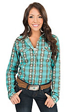 Rock 47 by Wrangler Women's Turquoise & Grey Plaid Long Sleeve Western Shirt