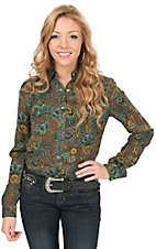 Rock 47 by Wrangler Women's Brown with Turquoise Floral Paisley Print Long Sleeve Western Shirt