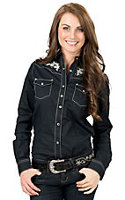 Rock 47 by Wrangler Women's Black with White and Grey Embroidery and Rhinestones Long Sleeve Western Shirt