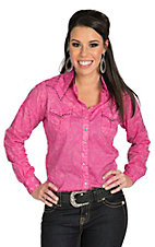 Rock 47 Women's Solid Pink Burnout Western Shirt