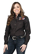 Rock 47 by Wrangler Women's Black with Floral Embroidery Long Sleeve Western Shirt