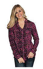 Rock 47 by Wrangler Women's Hot Pink & Black Cheetah Print Western Shirt