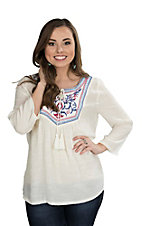 Rock 47 by Wrangler Women's White with Embroidered Yoke and Long Bell Sleeves Fashion Top