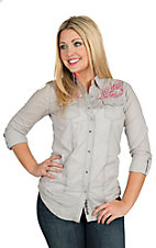 Rock 47 by Wrangler Women's Grey with Pink & Black Embroidery Long to 3/4 Sleeve Western Shirt
