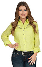 Rock 47 by Wrangler Women's Lime Green Snakeskin Burnout Long Sleeve Western Shirt