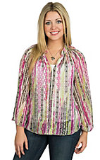 Rock 47 by Wrangler Women's Multicolor Long Bell Sleeve Chiffon Top