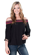 Rock 47 by Wrangler Women's Black with Embroidered Chevron Neckline Off The Shoulder 3/4 Sleeve Fashion Top