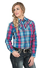Rock 47 by Wrangler Women's Pink and Blue Plaid with Tribal Embroidery Long Sleeve Western Snap Shirt