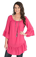Wrangler Women's Pink with Ruffled Bottom Hem and Ruffled 3/4 Sleeves Peasant Fashion Top