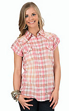 Rock 47 by Wrangler Women's Pink & Brown Plaid Short Sleeve Western Shirt