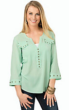 Rock 47 by Wrangler Women's Mint Chiffon with Nailheads 3/4 Sleeve Top