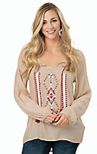 Rock 47 by Wrangler Women's Tan with Aztec Print Long Sleeve Peasant Top