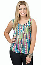 Rock 47 by Wrangler Women's Multicolor Tribal Print Chiffon Tank