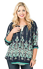 Rock 47 by Wrangler Women's Navy with Turquoise Floral Print Long Sleeve Fashion Top