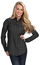 Rock 47 by Wrangler Women's Black Animal Print Long Sleeve Western Snap Shirt