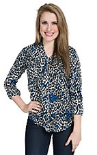 Rock 47 Women's Black and Blue Cheetah Print V-Neck Western Shirt
