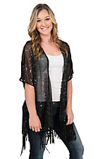 Rock 47 by Wrangler Black with Silver Accents 1/2 Sleeve Cardigan