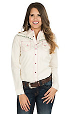 Rock 47 by Wrangler Women's Cream with Tribal Embroidery and Embellishments Long Sleeve Retro Shirt