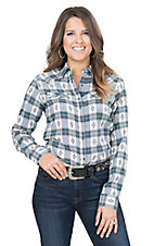 Rock 47 by Wrangler Women's Blue and White Dobby Plaid Long Sleeve Shirt