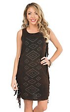 Rock 47 Women's Black Brown with Studs & Fringe Sleeveless Knit Dress