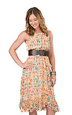 Wrangler Women's Orange and Blue Print Belted Halter Dress